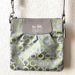 Coach Green & Silver Canvas Crossbody Handbag
